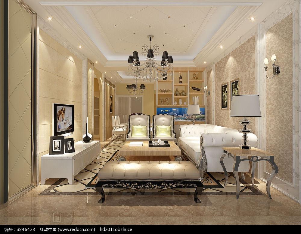 3d白色简欧式客厅模型和效果图