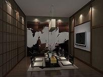 3D日式料理小包房模型和效果图