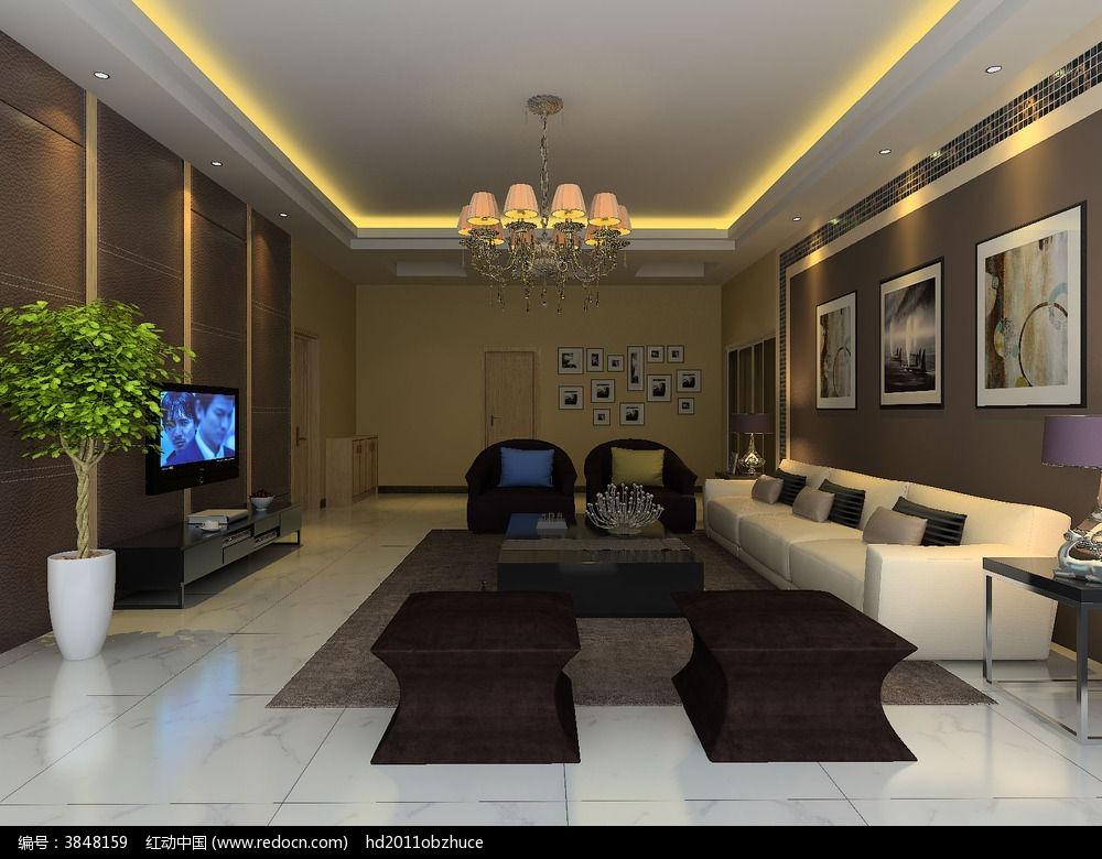 3d棕色简约客厅模型和效果图3dmax素材下载_室内装修