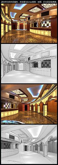 藏式酒吧/KTV大厅3d模型