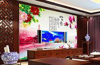 客厅电视背景墙图片山水情电视背景墙壁画