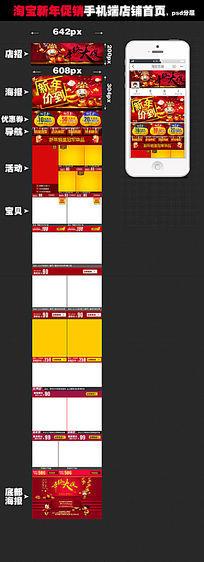 手机端首页装修模板下载 PSD