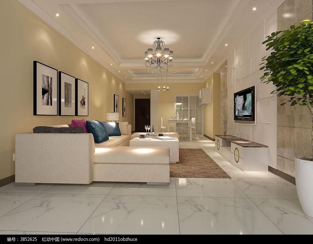欧式客厅3d模型max效果图设计下载
