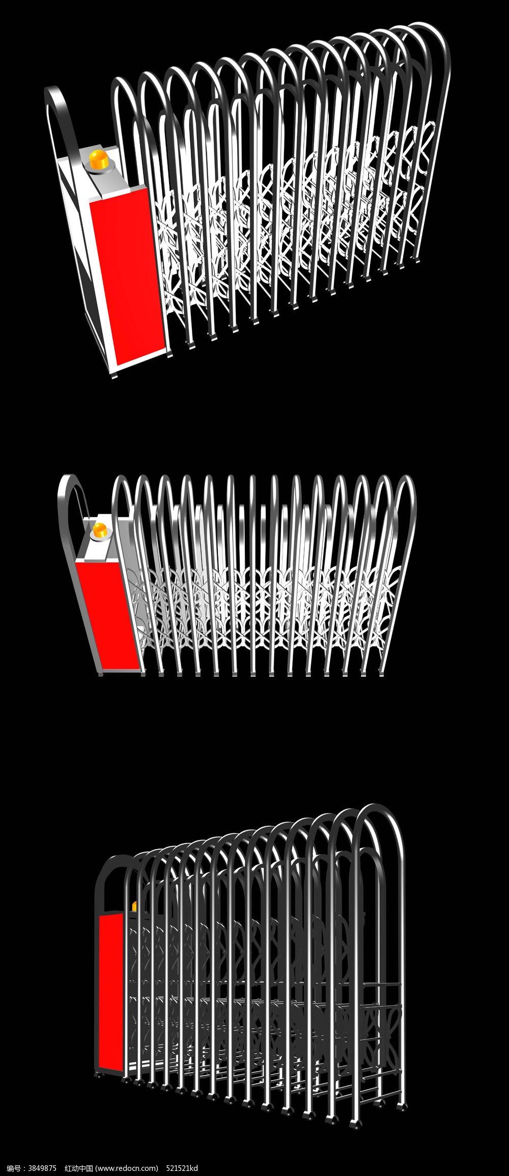 电动门模型_电动伸缩门3d模型_红动网