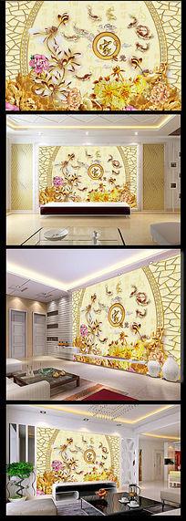彩雕牡丹花朵电视背景墙壁画
