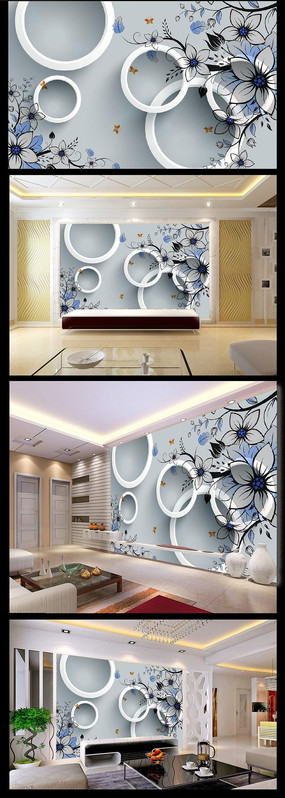 蓝色梦幻花纹背景墙