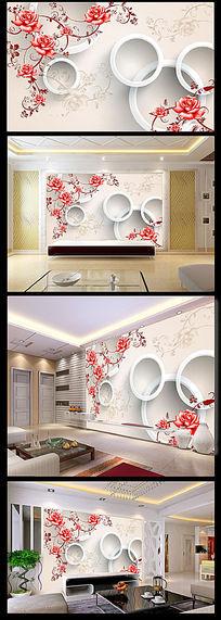 立体玫瑰花花纹背景墙