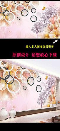 梦幻花朵圆圈3D背景墙