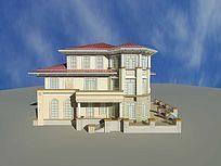3D欧式别墅外观模型和效果图