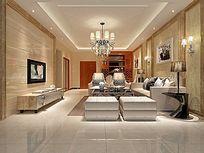 淡黄欧式客厅3D模型和效果图