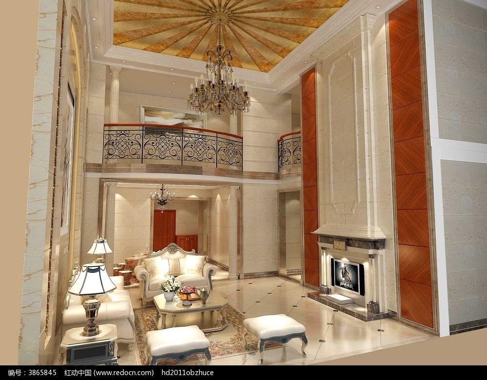 红木复式欧式客厅3d模型和效果图