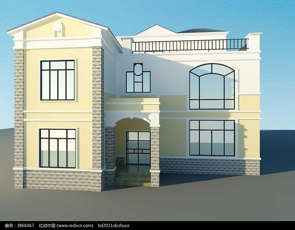 简欧式别墅外观3d模型和效果图