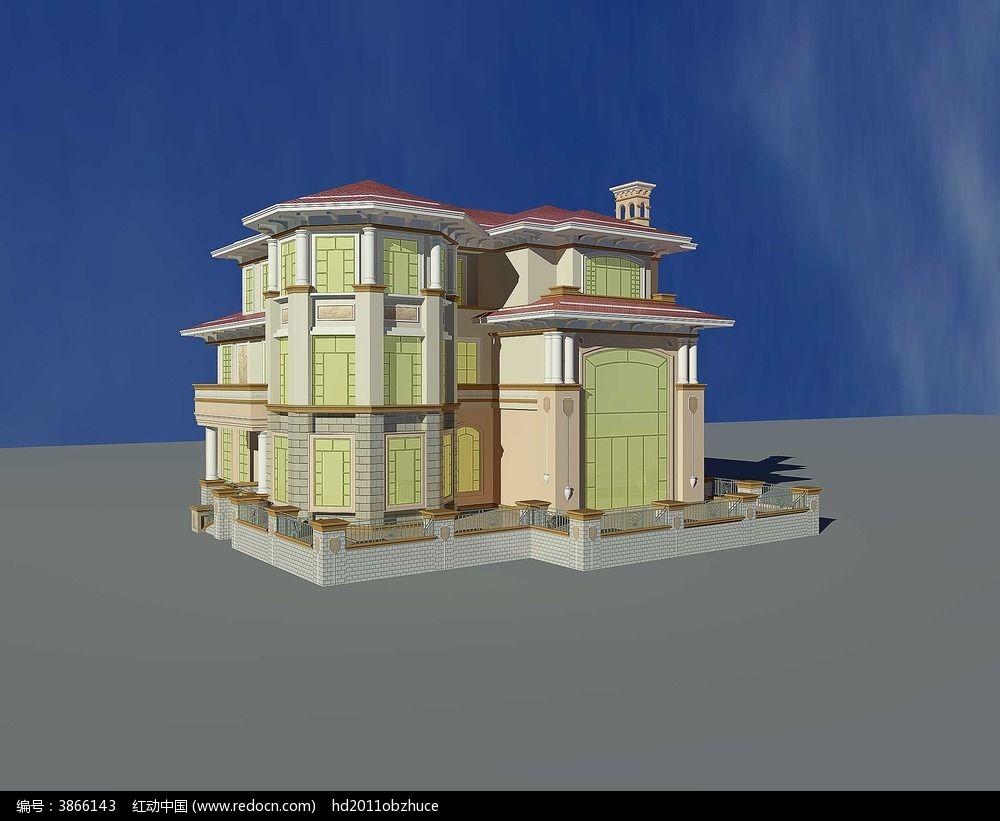欧式别墅外观3d模型和效果图
