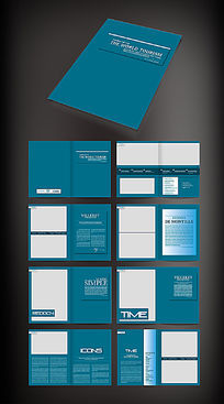 蓝色公司宣传画册版式模板
