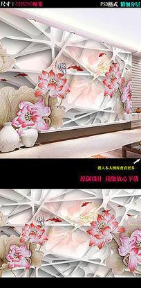 3D荷花古典中式电视背景墙装饰画