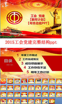 2015工会党建工作汇报ppt模板