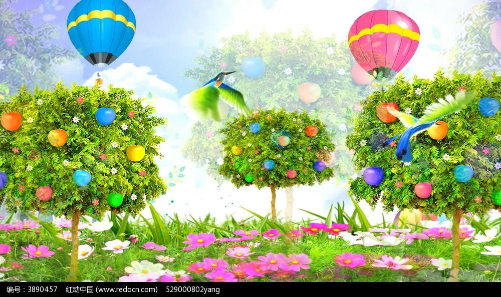 唯美热气球手绘背景