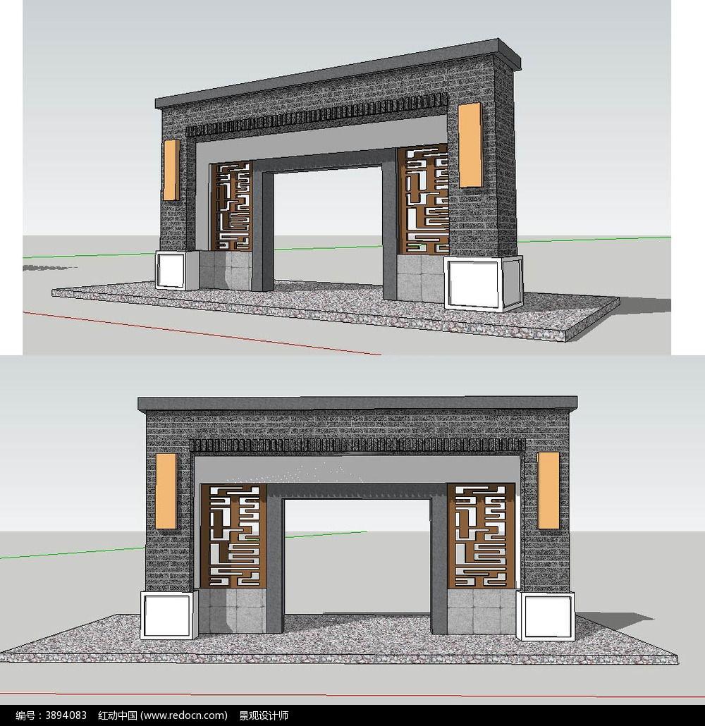 欧式入口大门草图大师sketchup建筑景观模型