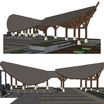 公园大门入口sketchup建筑景观模型
