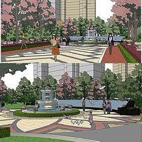 公园主入口节点sketchup建筑景观模型