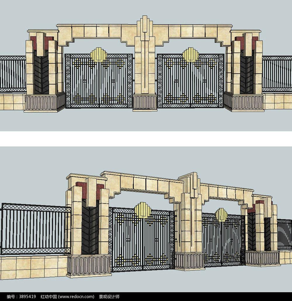 古典风格铁艺大门入口sketchup建筑景观模型