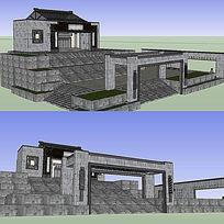 10款 景观入口大门sketchup建筑模型