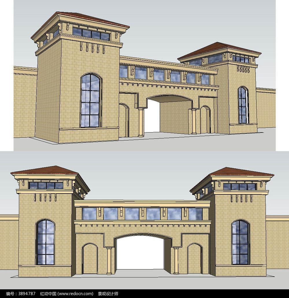 居住区小区入口sketchup建筑景观模型