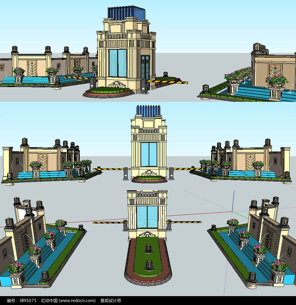 欧式大门入口水景sketchup建筑景观模型