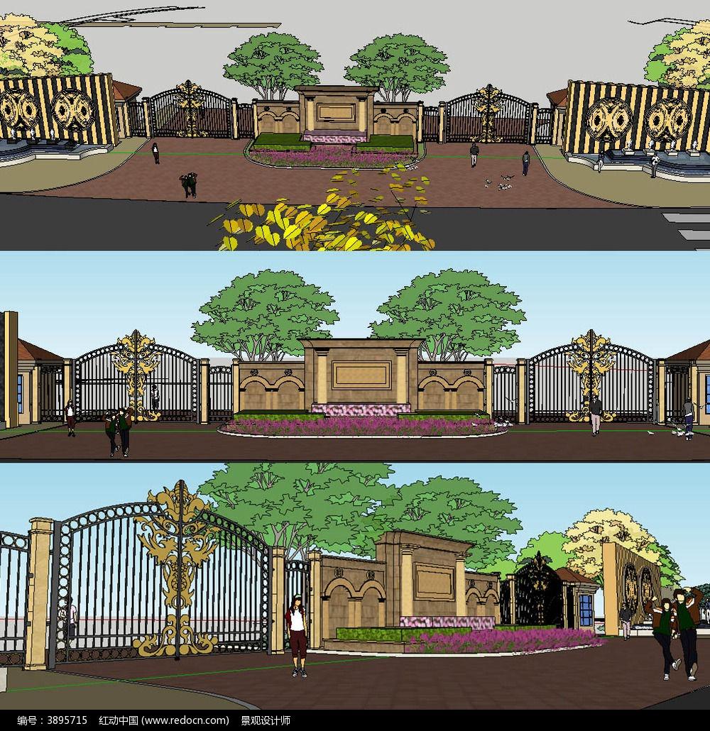 欧式大门入口sketchup建筑景观模型