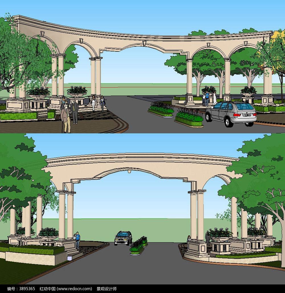欧式大门sketchup建筑景观模型
