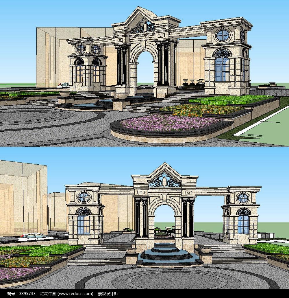 欧式风格入口大门sketchup建筑景观模型