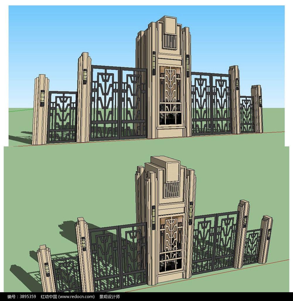欧式古典铁艺大门sketchup建筑景观模型