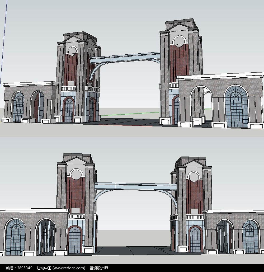 欧式古典小区大门sketchup建筑景观模型