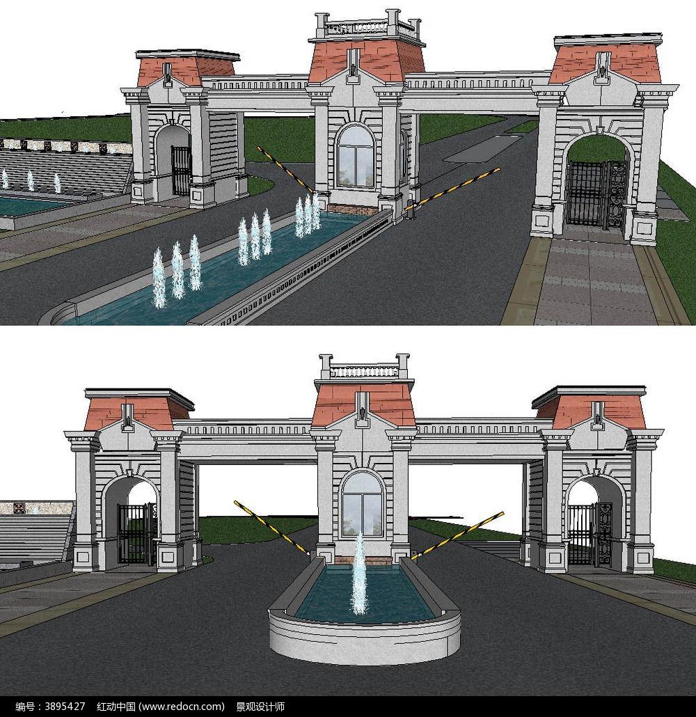 欧式景观大门sketchup建筑景观模型