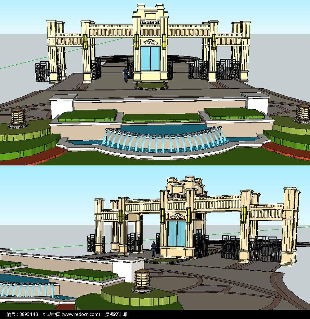 欧式居住区大门sketchup建筑景观模型
