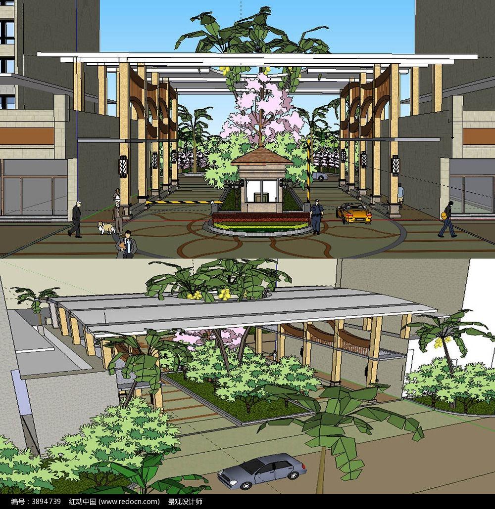 欧式居住区入口大门sketchup草图大师模型