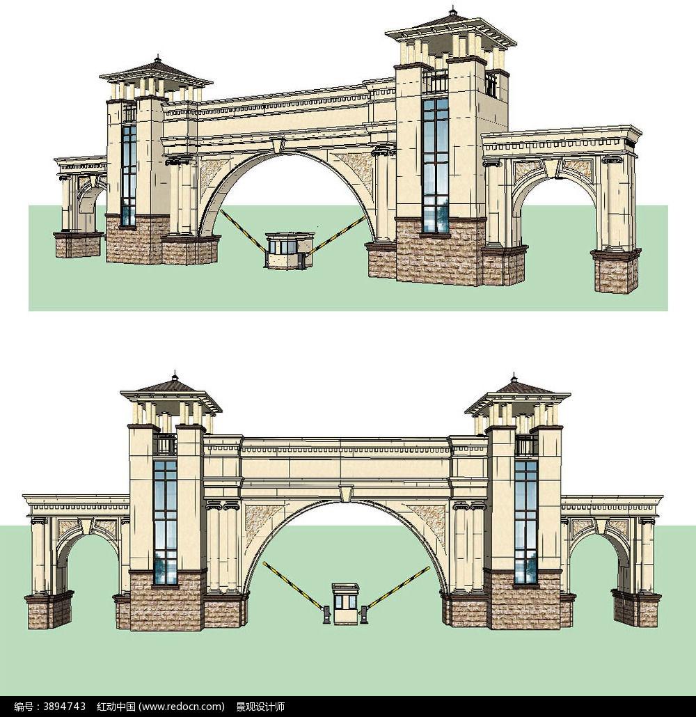 欧式入口大门草图大师sketchup建筑景观模型下载