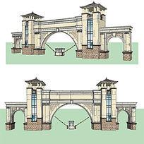 10款 欧式入口大门草图大师sketchup建筑景观模型下载