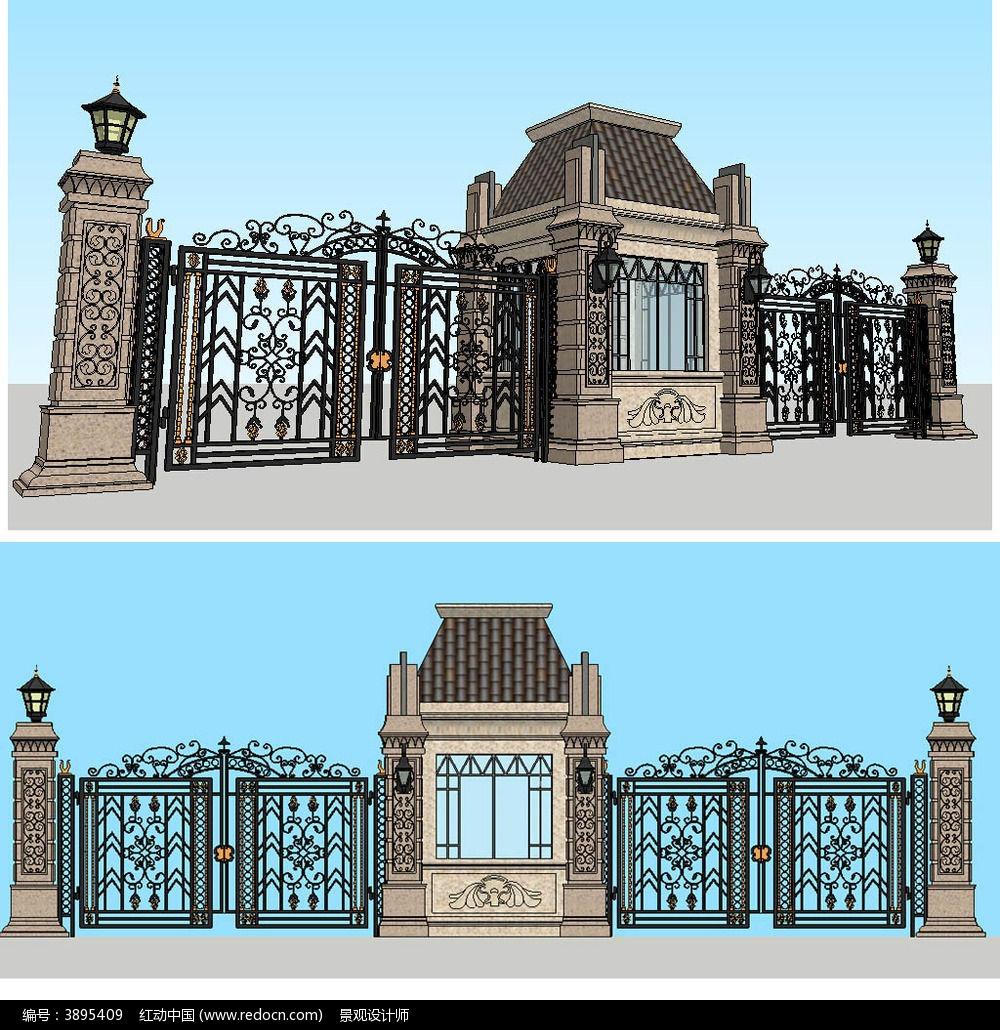欧式铁艺大门sketchup建筑景观模型