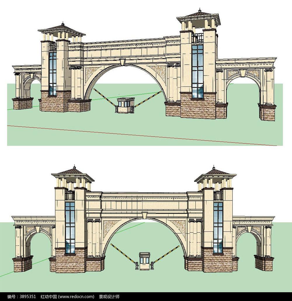 欧式入口大门草图大师sketchup建筑景观模型下载图片