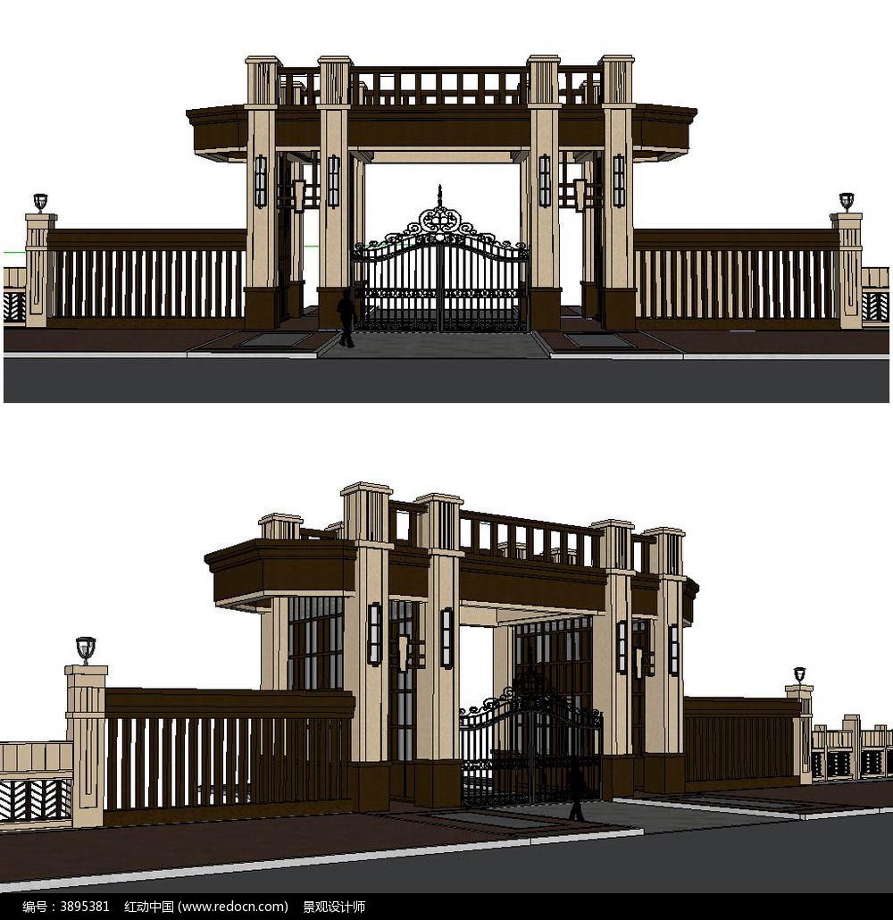 欧式小区居住区大门入口sketchup建筑景观模型