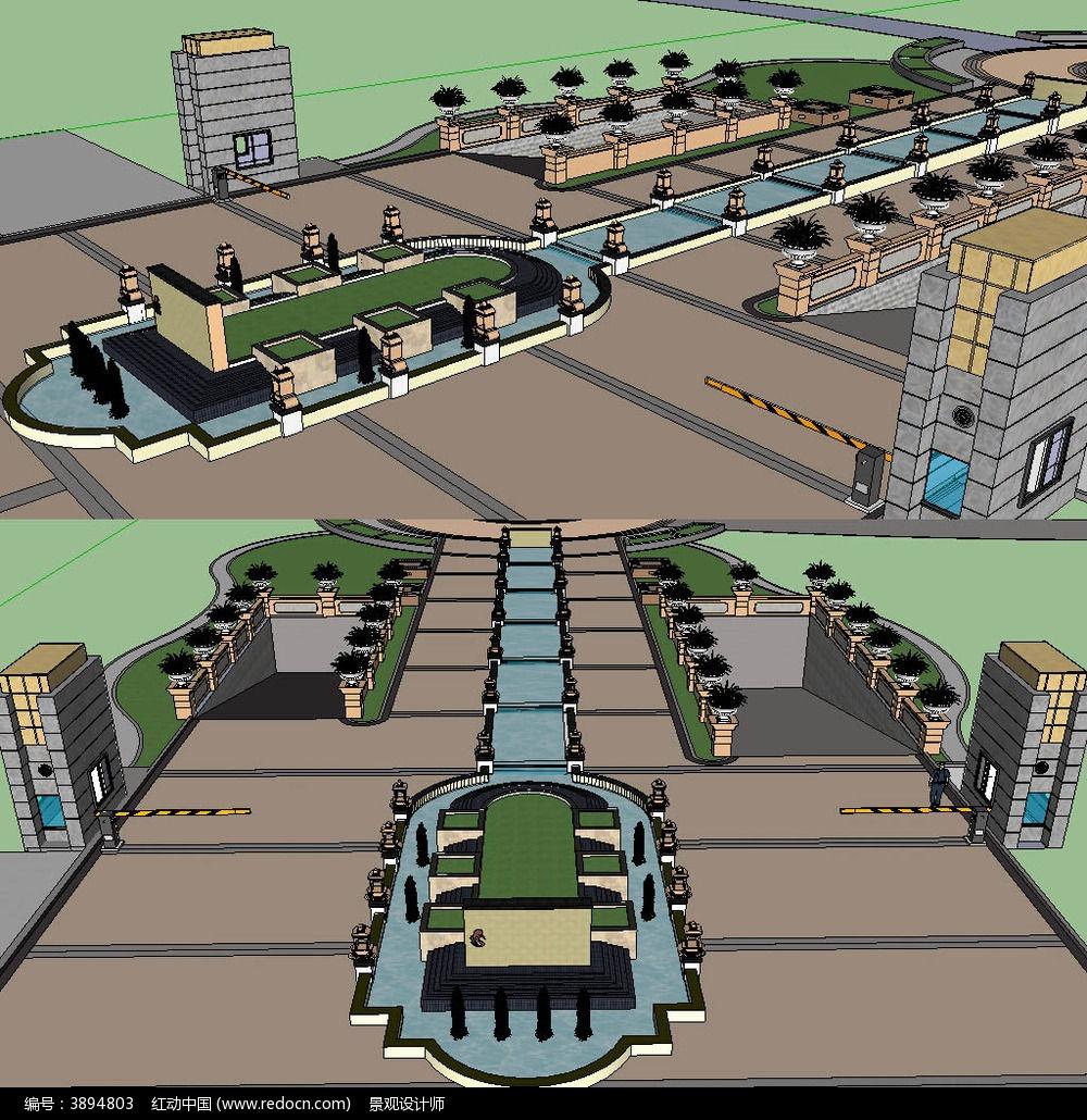 欧式小区入口草图大师sketchup建筑景观模型