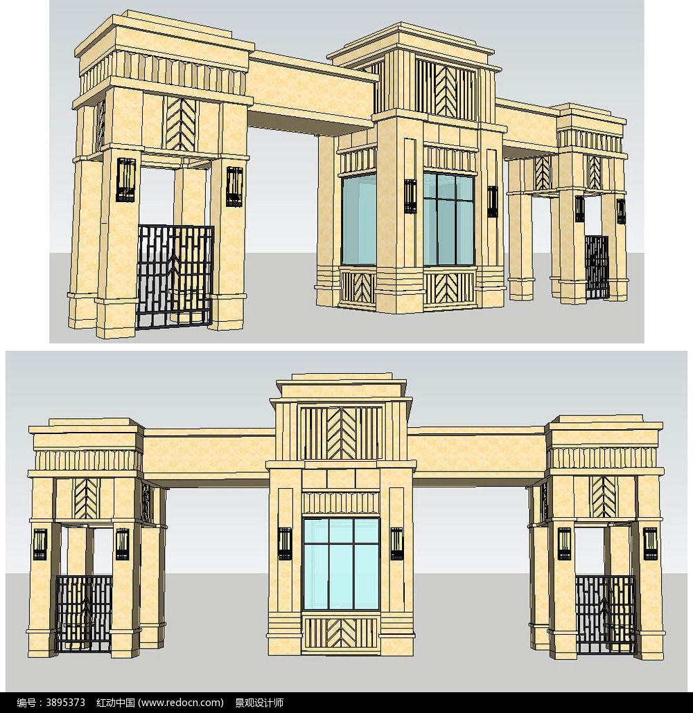 欧式小区入口大门sketchup建筑景观模型