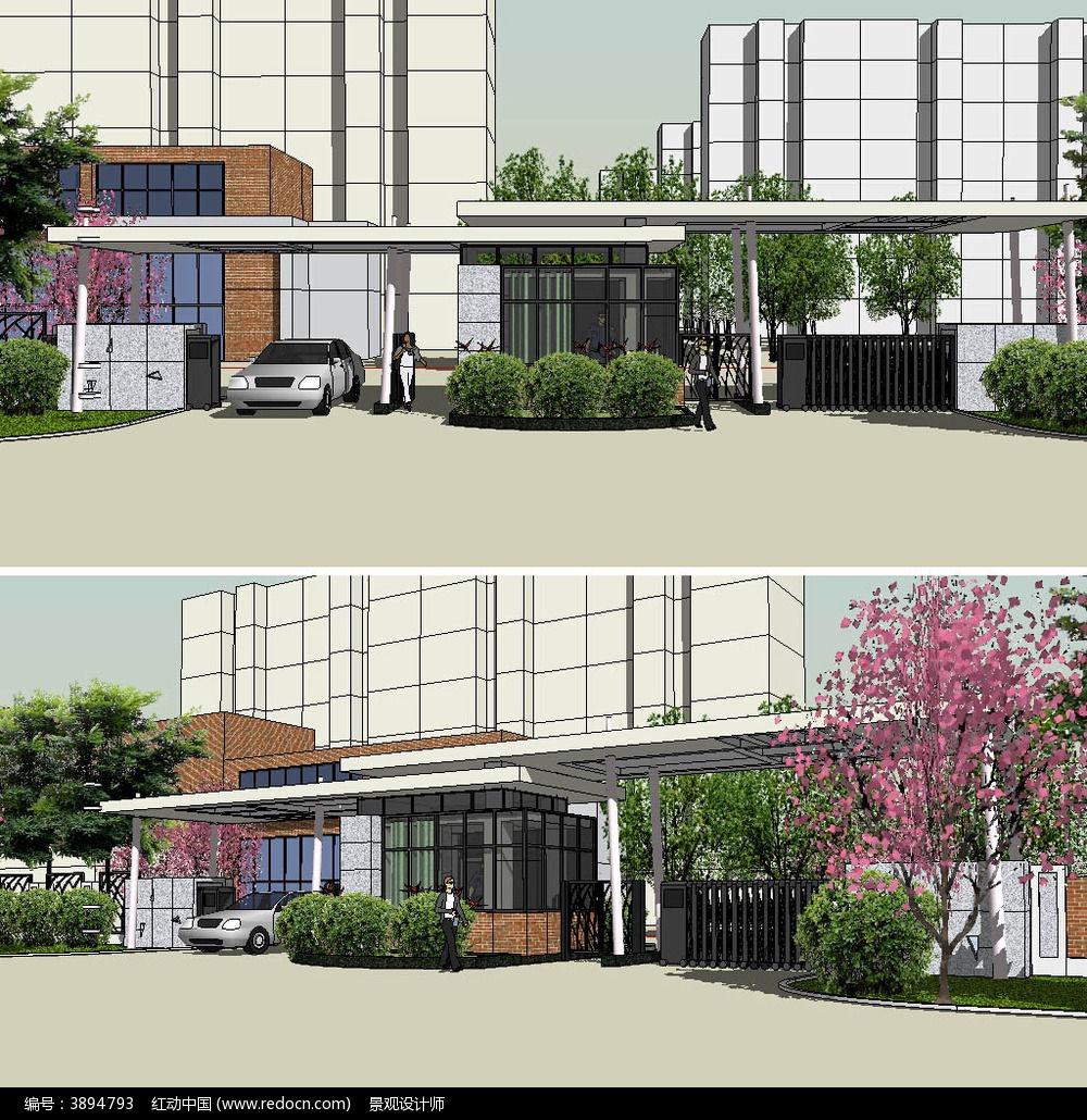 居住區小區入口sketchup建筑景觀模型
