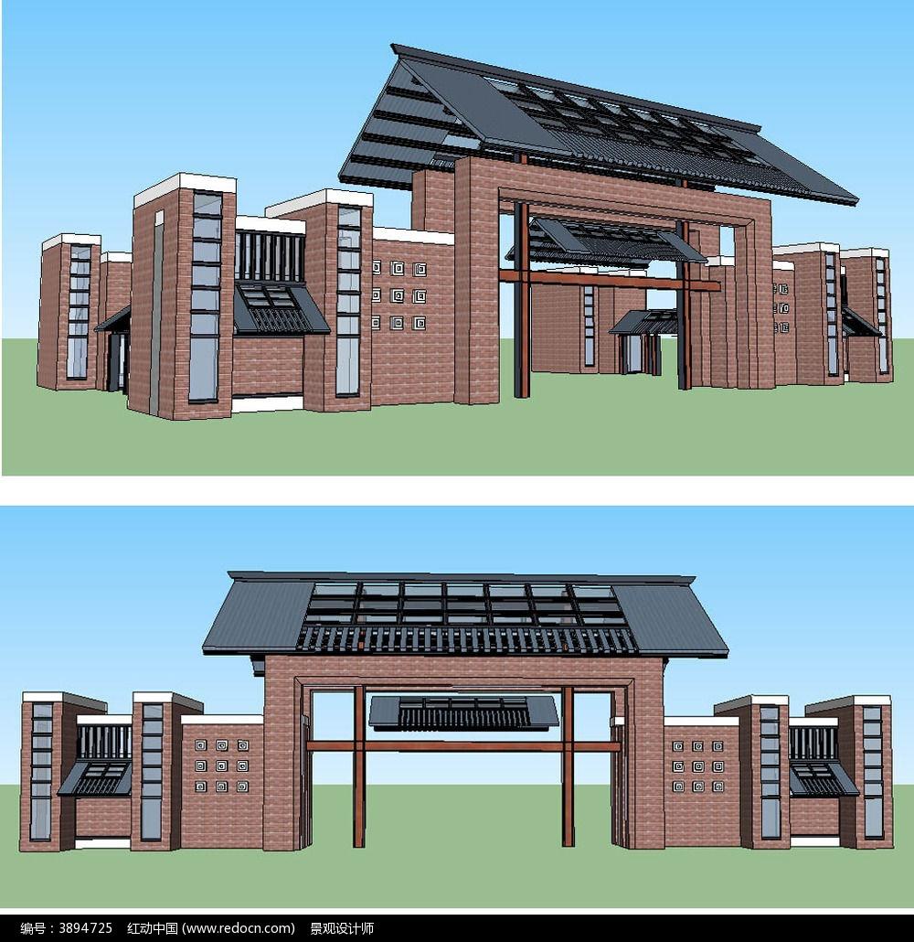 现代中式景观门sketchup建筑模型图片