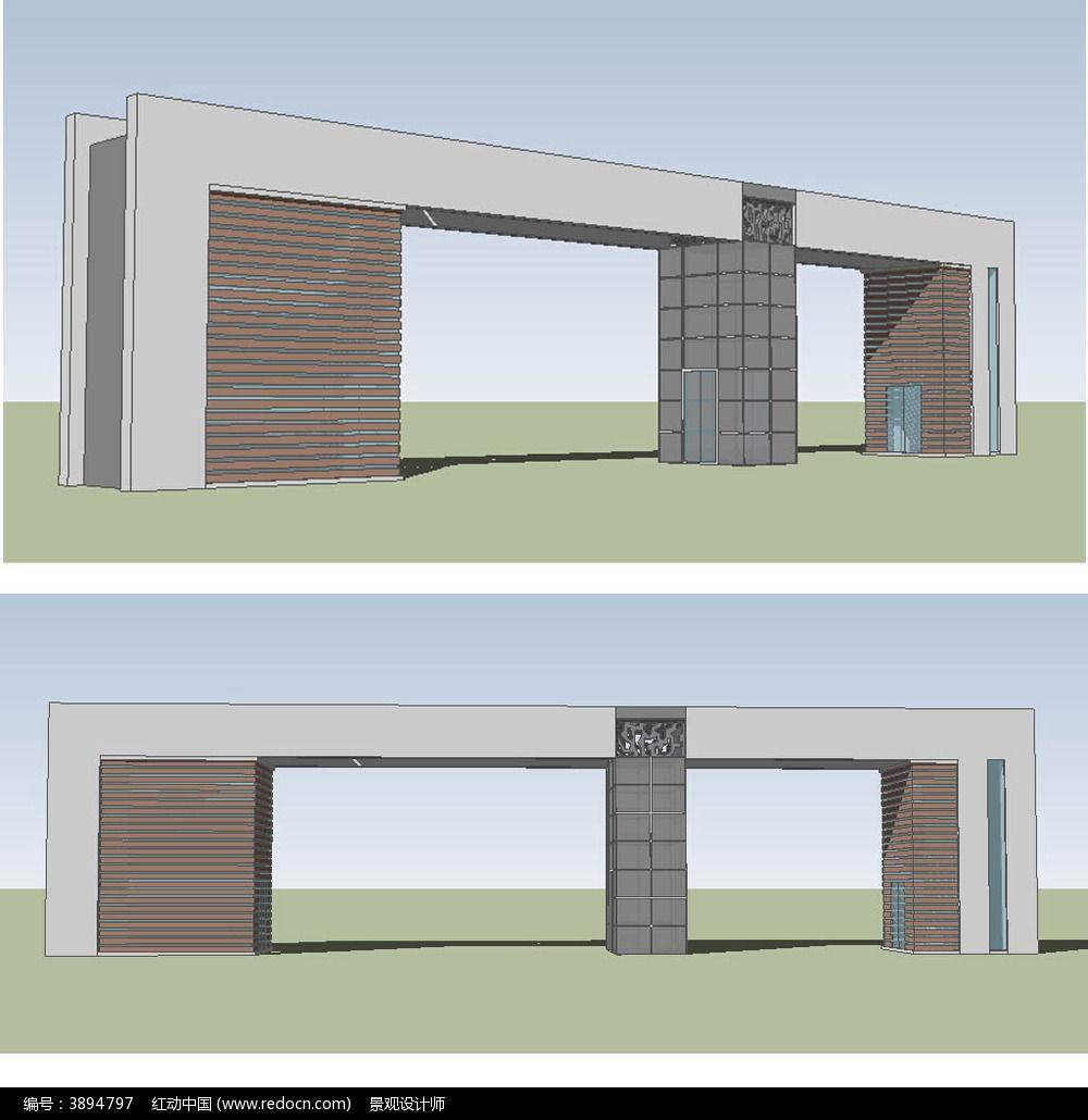 现代中式入口大门草图大师sketchup建筑景观模型图片