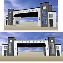 中式大门入口草图大师sketchup建筑模型