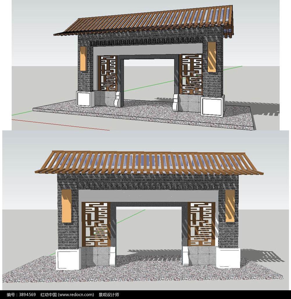 原创设计稿 3d模型库 景观全模 中式景观门sketchup建筑模型图片