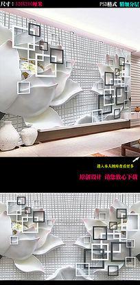 3D立体玉雕荷花背景墙图片下载