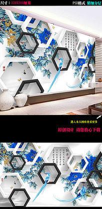 家和富贵牡丹喜鹊背景墙图片下载